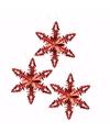 3x kersthanger sneeuwvlok ijsbloem rood type 2