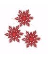 3x kersthanger sneeuwvlok rood glitter type 3