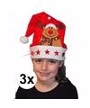 3x kerstmuts met rendier en lichtjes voor kinderen