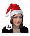 3x kerstmuts rood met zilver voor volwassenen