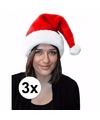 3x kerstmuts rood pluche voor volwassenen