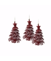 3x rode glitter kerstboom hanger 16 cm
