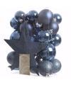 Blauwe kerstboomversiering set mystic christmas 33 delig