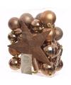 Bronzen kerstboomversiering set ambiance christmas 33 delig