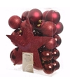 Donkerrode kerstboomversiering set cosy christmas 33 delig