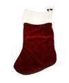Donkerrode kerstsok velours 20 cm