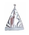 Glimmende kerstmuts zilver voor volwassenen