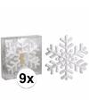 Glitter sneeuwvlok 9 stuks 20 cm