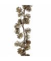 Gouden dennenappels guirlande 120 cm met glitters