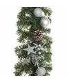 Groene zilver kerst dennen slinger met verlichting 180 cm