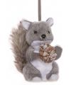 Hangdecoratie grijze eekhoorn 12 cm