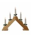 Houten led kaarsenbrug warm wit 5 lampjes