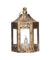 Kerst bronzen lantaarn met led theelichtje 10 cm