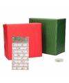 Kerst cadeaupapier pakket xs rood groen met etiketten