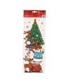 Kerst decoratie raamsticker kerstboom met sneeuwpoppen 42 cm