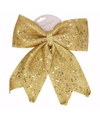 Kerst decoratie strik goud met pailetten classic gold 34 cm
