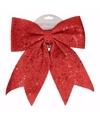 Kerst decoratie strik rood met pailletten classic red 34 cm