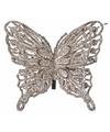Kerst decoratie vlinder champagne 13 x 11 cm