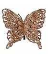 Kerst decoratie vlinder koper 13 x 11 cm