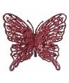 Kerst decoratie vlinder rood 13 x 11 cm