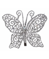 Kerst decoratie vlinder zilver 10 x 8 cm