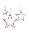 Kerst hangdecoratie houten sterren set van 3