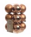 Kerst kerstballen brons 6 cm nature christmas 12 stuks