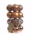 Kerst kerstballen brons 6 cm nature christmas 16 stuks
