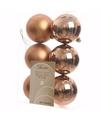 Kerst kerstballen brons 6 cm nature christmas 6 stuks