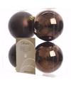 Kerst kerstballen bruin 10 cm glamour christmas 4 stuks