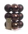 Kerst kerstballen bruin 6 cm glamour christmas 12 stuks