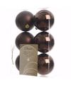 Kerst kerstballen bruin 6 cm glamour christmas 6 stuks