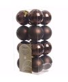 Kerst kerstballen bruin mix 4 cm glamour christmas 16 stuks