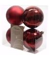 Kerst kerstballen donkerrood 10 cm cosy christmas 4 stuks