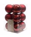 Kerst kerstballen donkerrood 6 cm cosy christmas 12 stuks