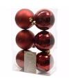 Kerst kerstballen donkerrood 6 cm cosy christmas 6 stuks