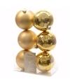 Kerst kerstballen goud 6 cm christmas gold 6 stuks