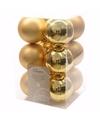 Kerst kerstballen goud 6 cm sweet christmas 12 stuks