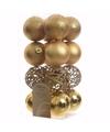 Kerst kerstballen goud 6 cm sweet christmas 16 stuks