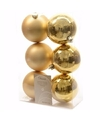 Kerst kerstballen goud 6 cm sweet christmas 6 stuks