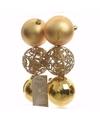 Kerst kerstballen goud mix 6 cm sweet christmas 6 stuks