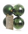 Kerst kerstballen groen 10 cm mystic christmas 4 stuks