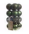 Kerst kerstballen groen 6 cm nature christmas 16 stuks