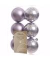 Kerst kerstballen lila 6 cm mystic christmas 6 stuks