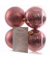 Kerst kerstballen oud roze 10 cm sweet christmas 4 stuks