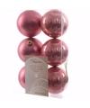 Kerst kerstballen oud roze 6 cm sweet christmas 6 stuks