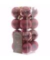 Kerst kerstballen oud roze mix 4 cm sweet christmas 16 stuks