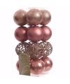 Kerst kerstballen oudroze 6 cm sweet christmas 16 stuks