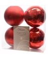 Kerst kerstballen rood 10 cm christmas red 4 stuks