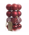 Kerst kerstballen rood 6 cm elegant christmas 16 stuks